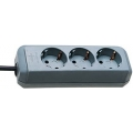 Prolongateur multiprise Eco-Line 3 prises gris argenté