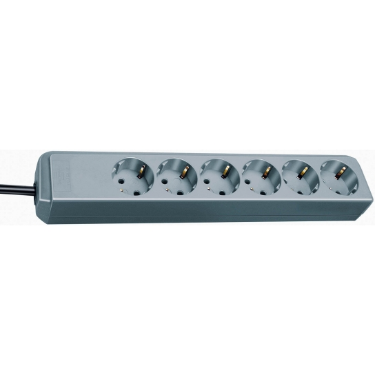 Prolongateur multiprise Eco-Line 6 prises gris argenté