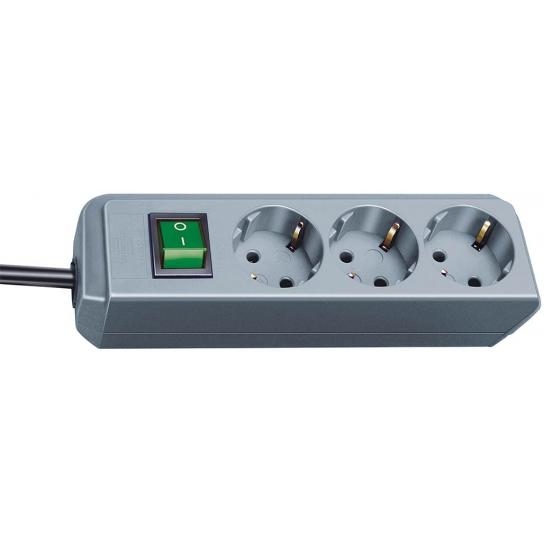 Prolongateur multiprise Eco-Line avec interrupteur 3 prises gris argenté