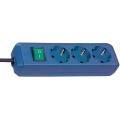 Prolongateur multiprise Eco-Line avec interrupteur 3 prises bleu