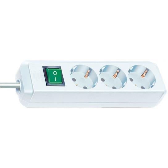 Prolongateur multiprise Eco-Line avec interrupteur 3 prises blanc 3 m