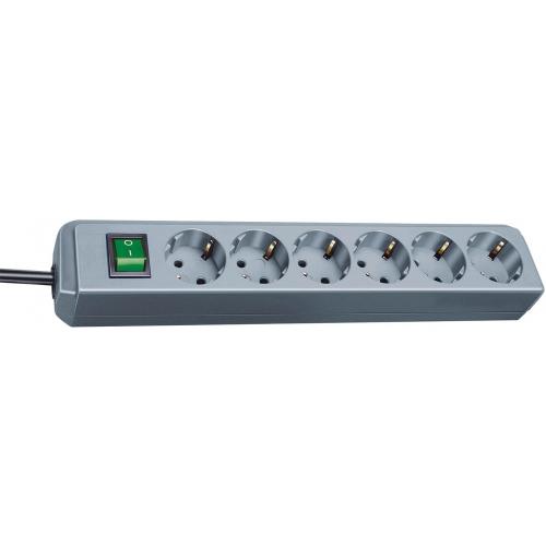 Prolongateur multiprise Eco-Line avec interrupteur 6 prises gris 1,5 m