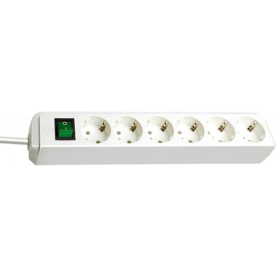 Prolongateur multiprise Eco-Line avec interrupteur 6 prises blanc 1,5 m