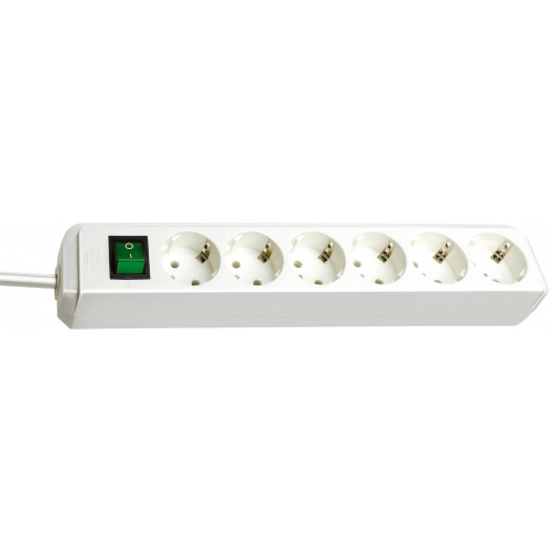 Eco-Line avec interrupteur 6 prises blanc 3 m H05VV-F 3G1,5