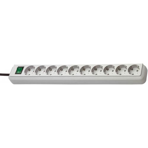 Eco-Line avec interrupteur 10 prises gris clair 3 m H05VV-F 3G1,5