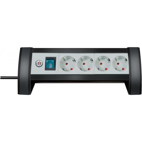 Prolongateur multiprise Premium-Office-Line 4 prises noir/gris clair 1,8m H05VV-F 3G1,5
