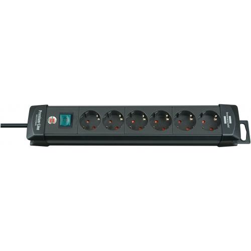 Premium-Line 6 prises noir 3 m H05VV-F 3G1,5