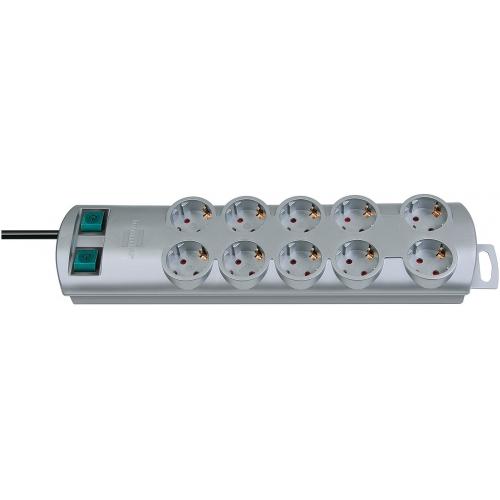 Prolongateur multiprise Primera-Line 10 prises argent 2m H05VV-F 3G1,5 Prises commutables par cinq