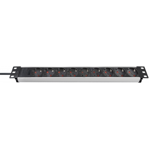 "Alu-Line 19"" extension socket for cabinets 9-way alu/black 2m H05VV-F 3G1,5, without switch"