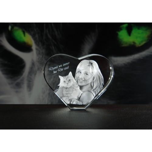 Photo 3D dans le cœur de verre 70x60x35mm
