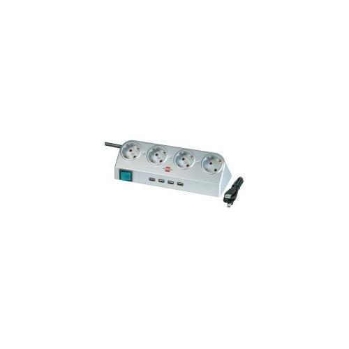 Desktop-Power avec interrupteur et prises USB 4 prises argent 1,8m H05VV-F 3G1,5