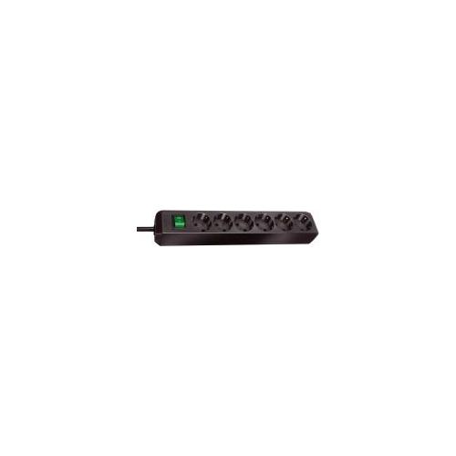 Eco-Line avec interrupteur 6 prises noir 1,5 m
