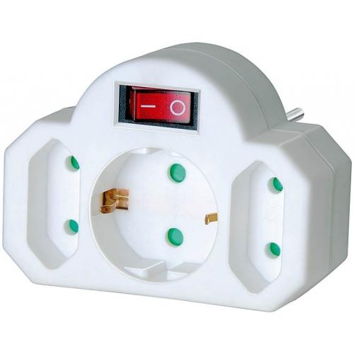 2 prises adaptateur Euro + 1 contact de mise à la terre avec interrupteur