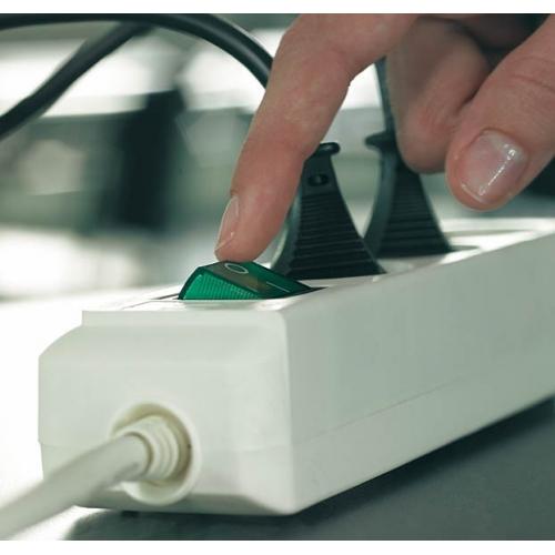 Eco-Line avec interrupteur 3 prises gris clair 1,5 m H05VV-F 3G1,5