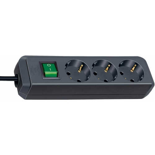 Eco-Line avec interrupteur 3 prises noir 5 m H05VV-F 3G1,5